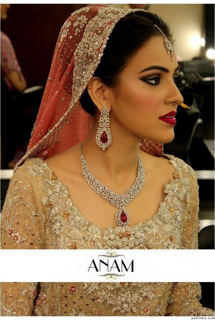 Bunto Kazmi dress makeup by ANAM LOVE the ruby and diamond jewellery