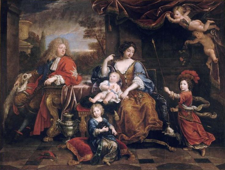 Louis de France, la Grand Dauphin, Marie-Victoire de  Bavaria, Dauphine of France, Philippe de France on the floor, Charles de France on stool, and Louis de France (future Dauphin) to the right, 1687 by Pierre Mignard