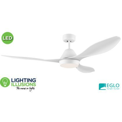 White Eglo Nevis 52″ DC 18W LED ABS Indoor/Outdoor Ceiling Fan With Remote Control