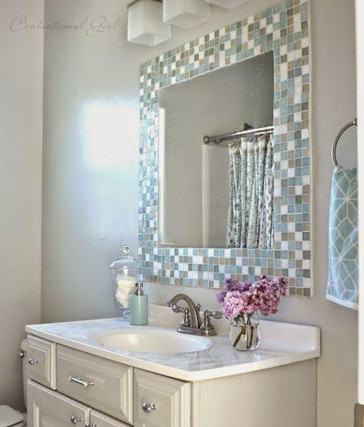 diy espejo de mosaico para el cuarto de bao