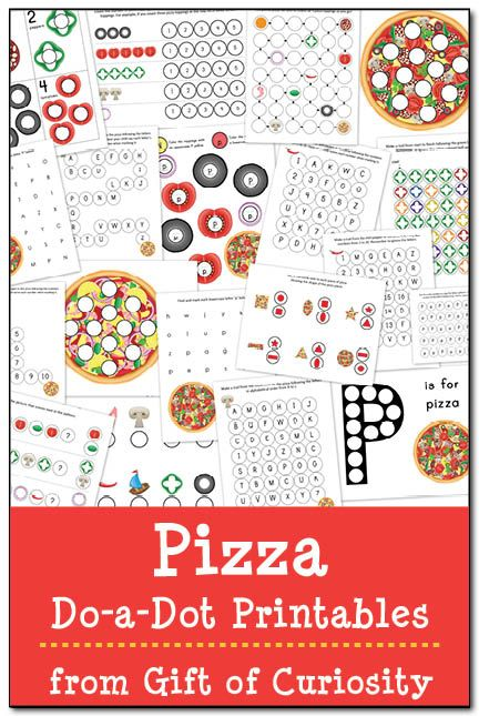 Free Pizza Do-a-Dot Printables that will make your mouth water! Grab these worksheets to help kids ages 2-6 learn shapes, colors, letters, numbers and more!