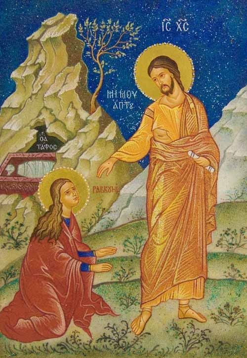 Jesus Appears to St Mary Magdalene - Crushed Stone Icons - Icons & Crosses http://catalog.obitel-minsk.com/08-12.html#!prettyPhoto #Orthodox #Icons - #OrthodoxIcons - #Eastern #Orthodoxy, #Saint, #Miracle, #Blessed #Faith #Painted #Jesus #Crist #Saint #Handpainted