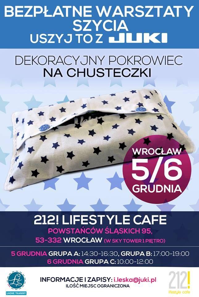 Halo halo Wrocław, zapraszamy BEZPŁATNE na warsztaty szycia JUKI!! 5 i 6 grudnia  Zapewniamy maszyny, materiały i akcesoria. Udostępnij nasz post, a w zgłoszeniu napisz co najbardziej inspiruje Cię do szycia.   Zgłoszenia wysyłajcie na i.leska@juki.pl Do zobaczenia!!