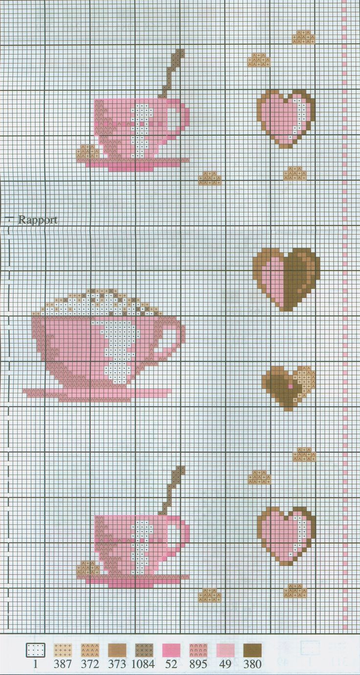 Cappucino free cross stitch pattern from www.coatscrafts.pl (Uses Anchor embroidery floss)