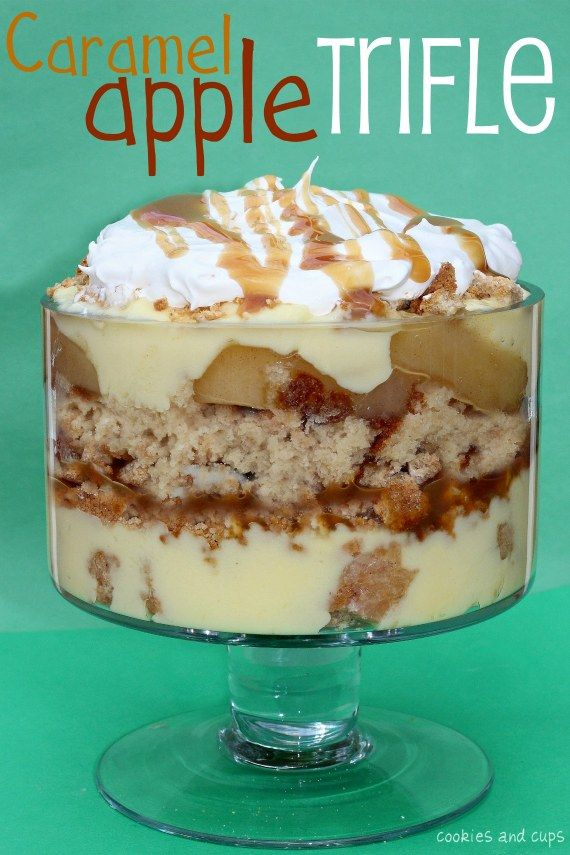 Caramel Apple Trifle...This trifle is easy. It's basically layering anything yummy you want all in one dish and calling it a dessert....1 baked cake (apple, white, pound) 1 can apple pie filling 1 jar caramel sauce Apple Cider donuts (approx 4-6 depending on size) prepared vanilla pudding or custard coarsely chopped oatmeal cookies whipped topping