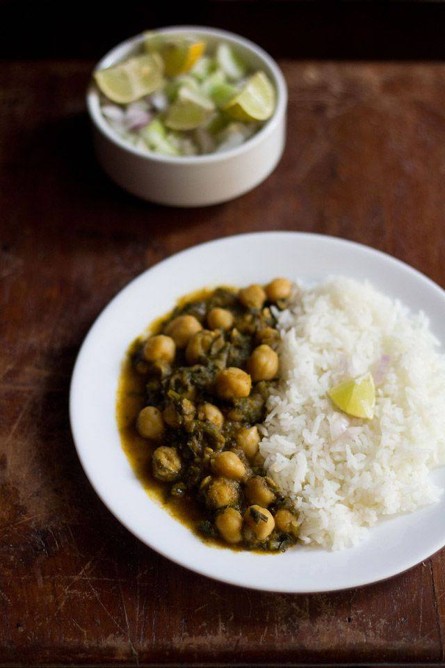 palak chole - spinach with chickpeas
