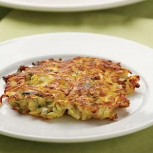 Gluten Free Parmesan-Squash Cakes.  Make this recipe vegan by using vegan cheese.