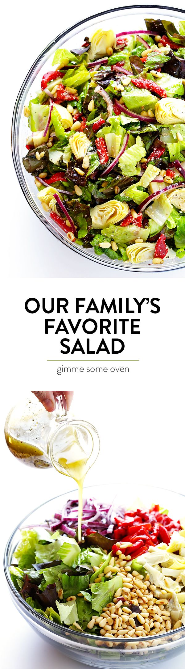 Our family's favorite salad is made with lots of artichoke hearts, roasted red peppers, toasted pine nuts, and a zesty Parmesan vinaigrette.  SO delicious, and always a crowd favorite! | gimmesomeoven.com