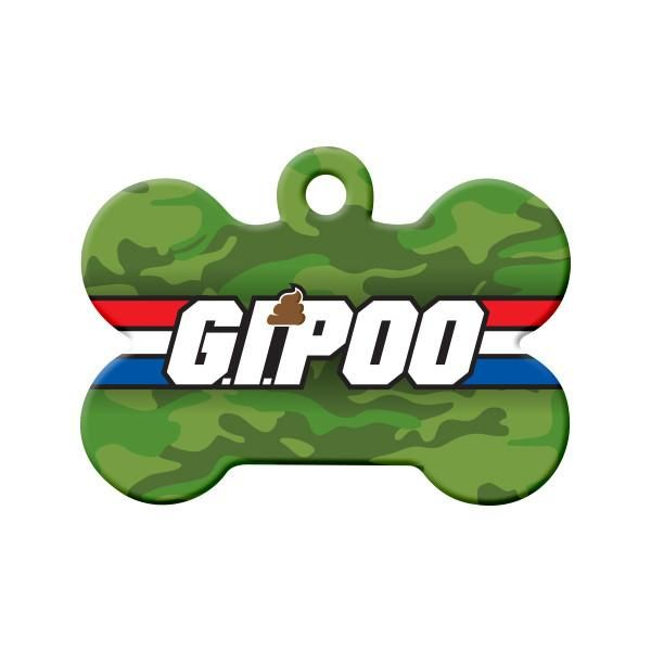 G.I.Poo Dog Tag (Camouflage) - A fun parody tag, G.I. Poo for the pet in your life with a sense of humour with a green camouflage background.