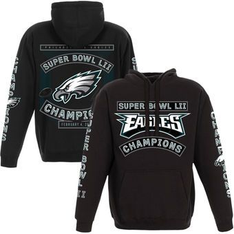 11468aab9db Men's Philadelphia Eagles NFL Pro Line by Fanatics Branded Black Super Bowl  LII Champions Victorious Pullover Hoodie