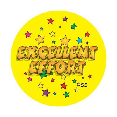 Excellent Effort - Stars. 125 stickers per pack (28mm)