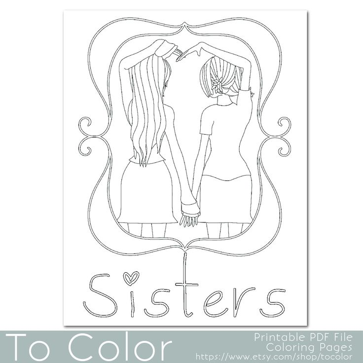 This Coloring Page Features Two Girls Holding Hands To Make A Heart Shape With The Word