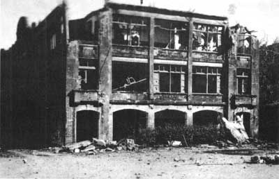 Middleside Barracks, March 1942. The barracks housed the reserve company of the 2d Battalion, 4th Marines during the siege.