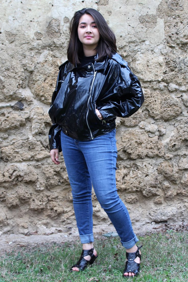 Vintage punk rain jacket from Kenn Sporn: Rain Jacket   Downtown Wippette by Kenn Sporn, Medium, Rain Jacket Women, Black Rain Jacket Women, Punk Rock Jacket Women, 90s Clothing http://etsy.me/2F6RbOg #rainjacket #downtownwippette #kennsporn #punk #motojacket