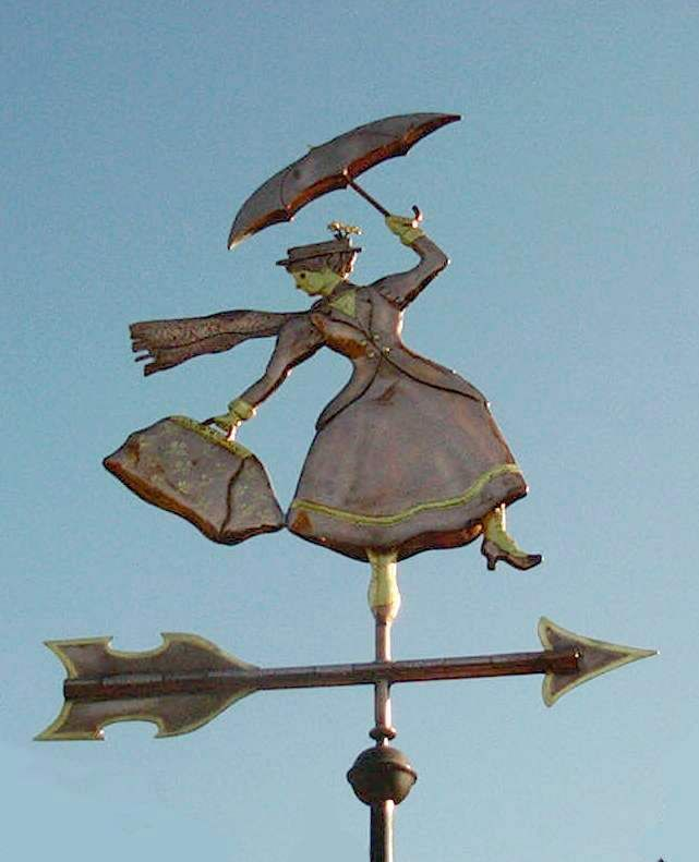 Mary Poppins with Umbrella Weathervane by West Coast Weather Vanes.  This handcrafted, unique, copper Mary Poppins weathervane was custom made for a family and their two children.