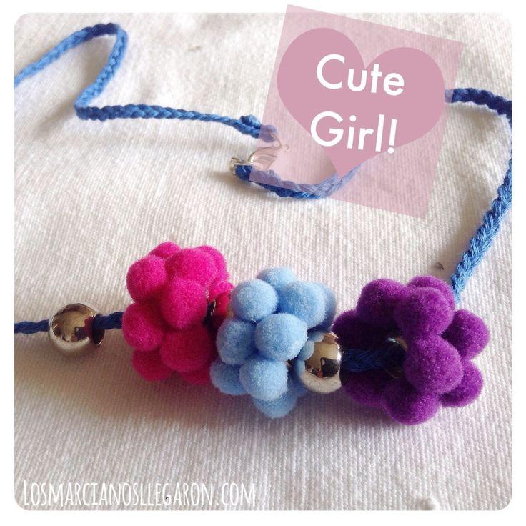 Bisutería para niñas: Un collar pomposo! #DIY #Jewelry #Bisuteria