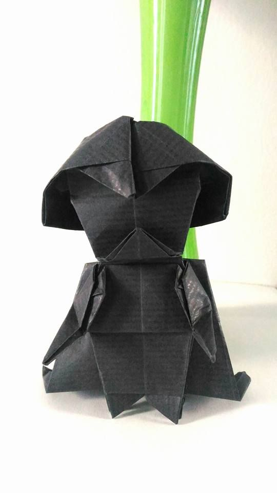 Origami Darth Vader. Folded by me.  Designed by Tadashi Mori.   May the force be with you.