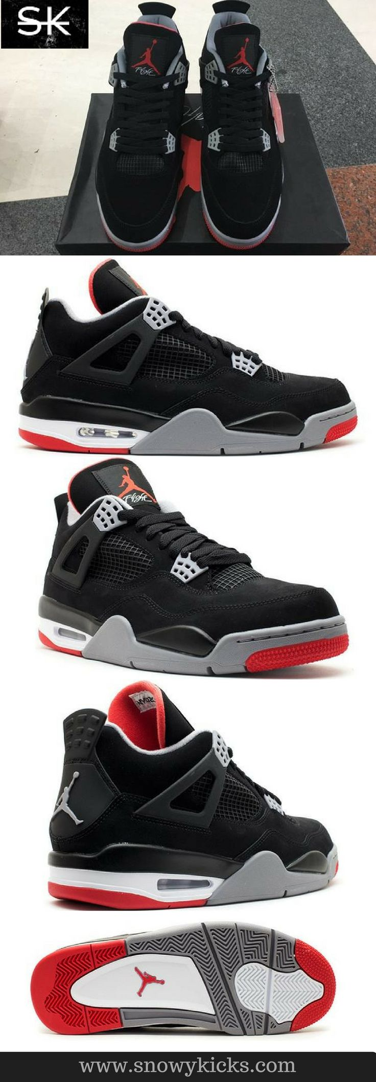 """Air Jordan IV """"Bred"""": The """"Bred"""" model features a Jumpman logo on the back and on the sole. #Sneaker #shoes #run 