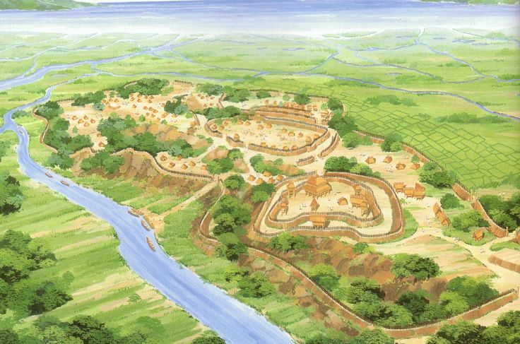 Yoshinogari ruins in Saga Prefecture are representative of the late Yayoi period of about 2,000 to 1,800 years ago. Surrounding it is a large double Horiya fence.
