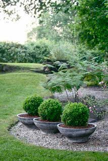 Combining container plantings with a rock garden means this is a really low-maintenance idea, but it's got a crisp and elegant look.