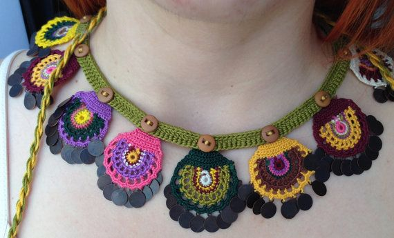 Beaded Necklace, Beaded Crochet Neckalce, Knotted Crochet Necklace, Needle Lace