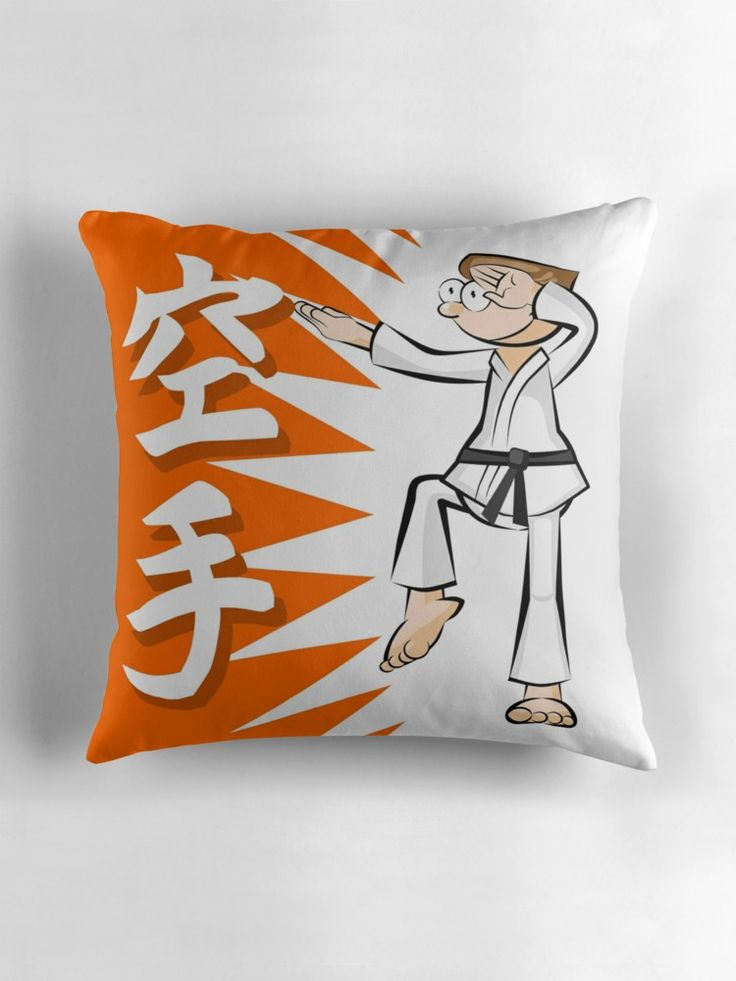Karate a discipline of strength and honor by MegaSitioDesign#ThrowPillows #karate #beltblack #taekwondo #kid #man #boy #fight #fighter #cartoon #kimono #japanese #martial #combat #agility #kick #arms #asian #attack