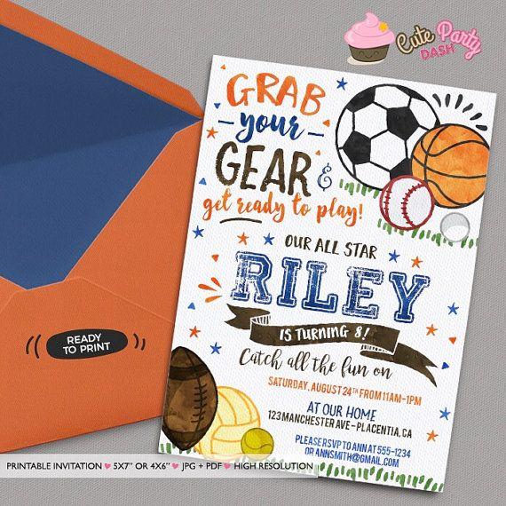 Sports Birthday Party invitations Sports Birthday by CutePartyDash