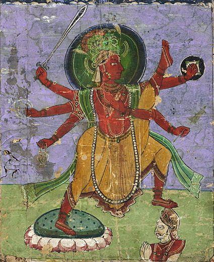 Vamana as Tri-vikrama.  La Epopeya de Shakti tumblr.  Vamana es el quinto avatar (encarnación) de Vishnú. Descendió a la tierra como enano para enfrentarse al demonio Balí. Se le representa como Trivikrama, que significa tres pasos, con los que Vamaná atravesó el universo (con el primer paso abarcó el Cielo, con el segundo la Tierra y el tercero en el Inframundo (Patala)