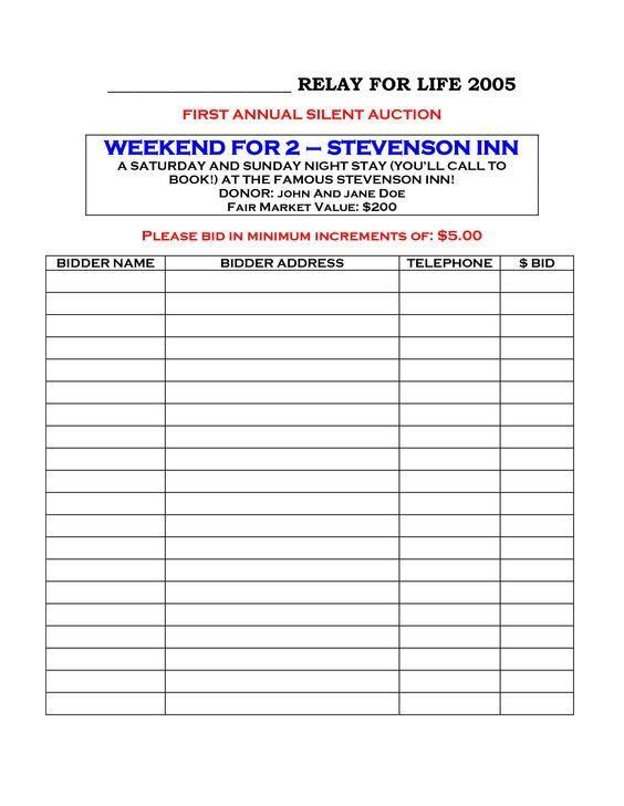 The 25+ best Silent auction bid sheets ideas on Pinterest Silent - sample silent auction bid sheet
