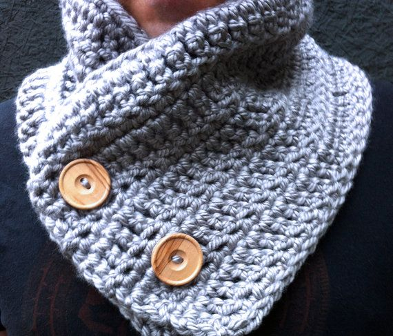 Unisex Buttoned Cowl Scarf Vegan / GREY / by ZiemaCraft on Etsy