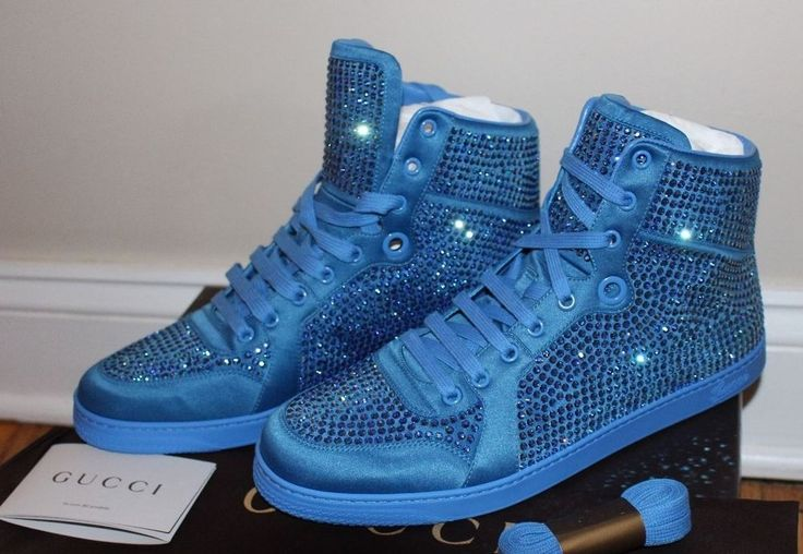 Gucci High Top Sneakers Crystal Studs Powder Blue Satin