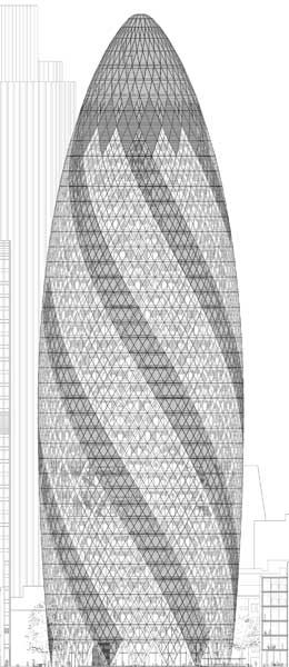 The Gherkin in London by Foster + partners