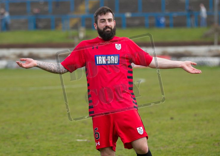 Queen's Park's Bryan Wharton celebrates Queen's Park qualifying for the final of the SPFL League One play-offs after the game between Cowdenbeath and Queen's Park.