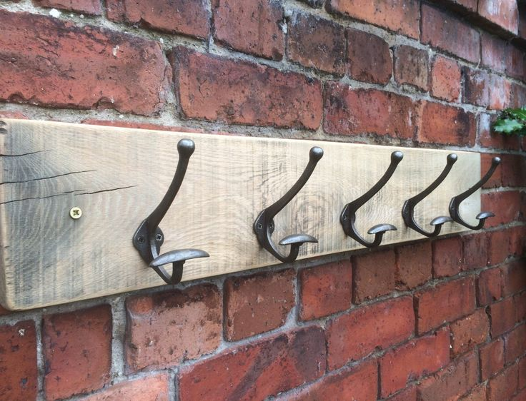 Reclaimed solid oak & cast iron coat rack by RusticRework on Etsy