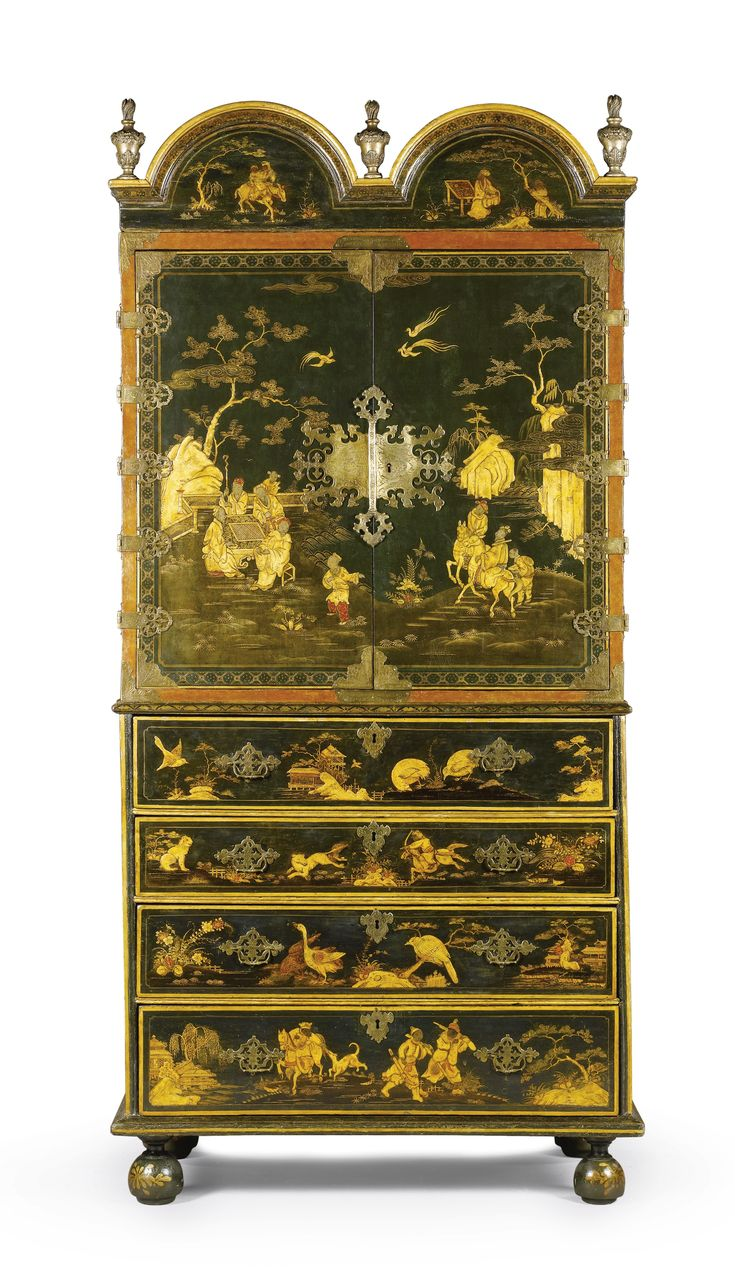 Chair antique queen anne chair the buzz on antiques antique chairs 101 - A Queen Anne Dark Green And Gilt Chinoiserie Japanned Secretaire Cabinet Br Circa 1710