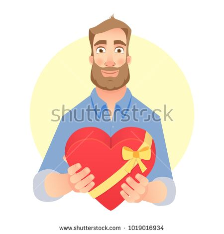 Man gives heart illustration. Man holding red box with ribbon. Stock photography, images, pictures, Illustrations, ideas. Download vector illustrations and photos on Shutterstock, Istockphoto, Fotolia, Adobe, Dreamstime