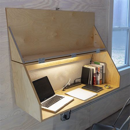 This handy wall-mounted desk from Build Something …