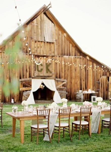 Barn wedding - outdoor tables