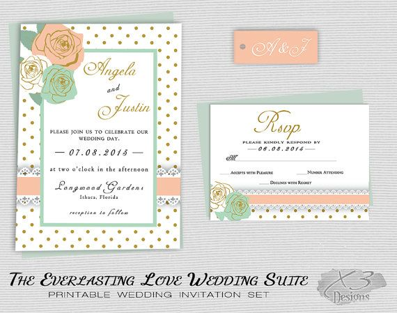 Printable Rustic Wedding Invitation, Country Barn Wedding Invitation, Pastel Floral Shabby Chic Wedding Invite, Peach, Mint Green Roses by X3designs $45.00
