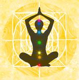 Lotus pose and chakra points Stock Images