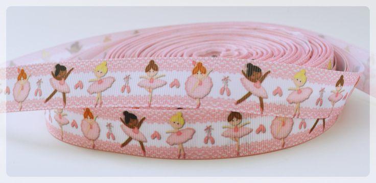 """Tanzende Ballerinas in Rosa gedruckt Grosgrain Ribbon 7/8"""" Breite Scrapbooking HairBows Parteien DIY-Projekte AZ282 von AZRibbonsAndSupplies auf Etsy https://www.etsy.com/de/listing/237371697/tanzende-ballerinas-in-rosa-gedruckt"""