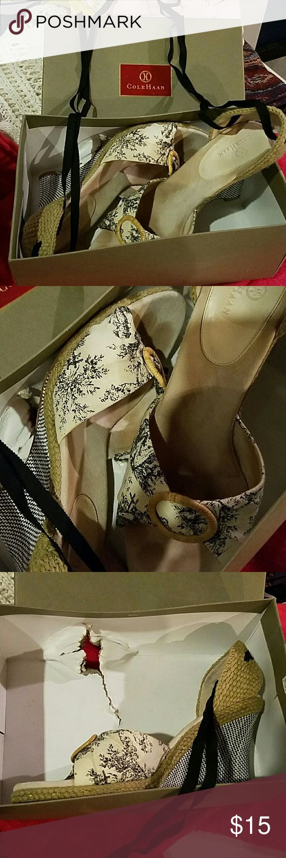 Cole Haan Espadrillas Box is damaged.  Otherwise good condition.  This is a French Toile print. These are gorgeous! Cole Haan Shoes Espadrilles