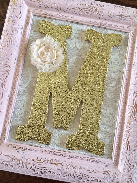 These Items Are Handmade-Made To Order Please allow 3-4 weeks production time  Upcycled Ornate Picture Frame Measures 8x10 inch (inside) Frame Made of Resin   Hand Painted in Antique Pink, Lavender Purple, Antique White (off-white) Classic White or Mint Distressed for a shabby chic look Gold and dark undertones 9 inch Wooden Letters in Plain or Scalloped edge font Gold or Silver Glitter Finish  Shabby flower in Cream White Back of frame have been left unpainted. And comes ready to hang or…