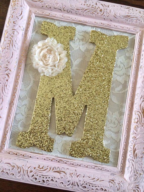 nursery letter m baby girl nursery letters pink and gold. Black Bedroom Furniture Sets. Home Design Ideas