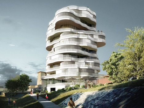 London firm Farshid Moussavi Architecture has won a competition to design an apartment block in Montpellier with designs for a tower made from a stack of rippling floor plates. Lot 2, Jardins de la Lironde by Farshid Moussavi Architecture