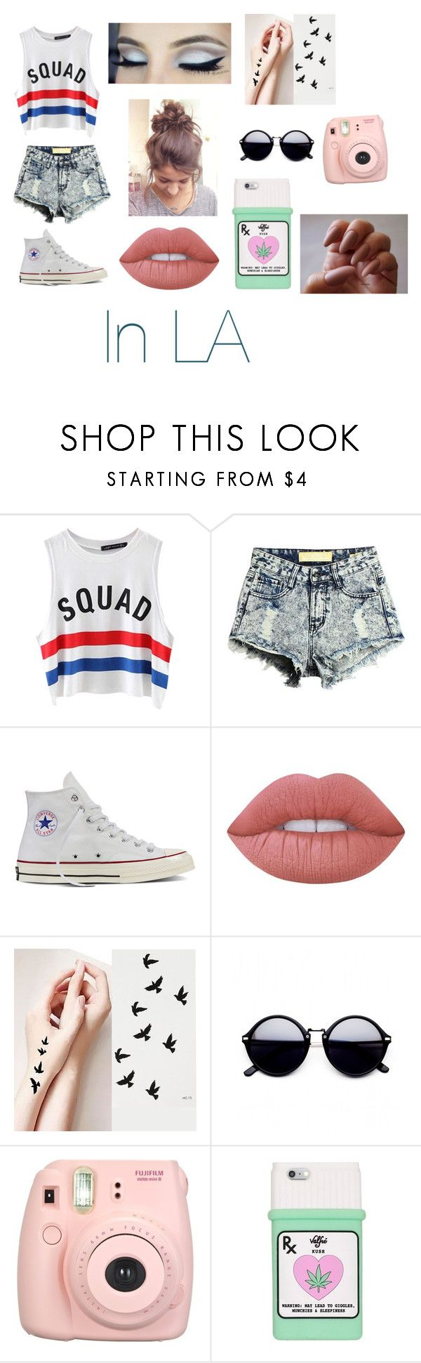 """LA outfit #1"" by rayneruscheinsky ❤ liked on Polyvore featuring Chicnova Fashion, Converse, Lime Crime, Fujifilm and Valfré"
