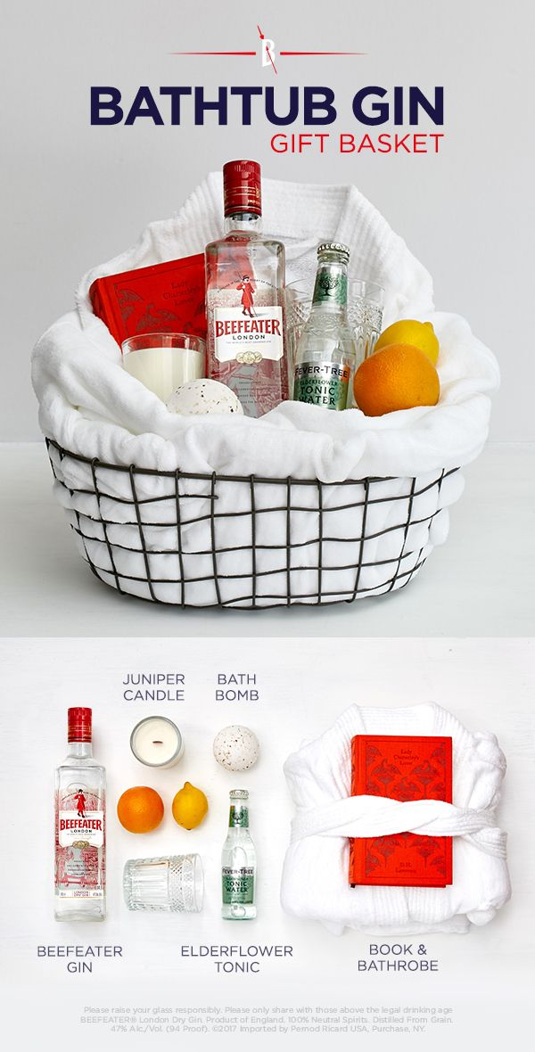 DIY GIFT IDEA- BATHTUB GIN GIFT BASKET | This bath-themed gift basket makes a thoughtful hostess or holiday gift for anyone who needs a little me time.
