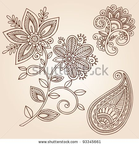 Henna Mehndi Flower Doodles Abstract Floral Paisley Design Elements Vector Illustration by blue67design, via Shutterstock