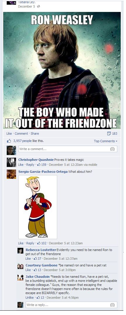Escaping the friendzone--The Ron Weasley/Ron Stoppable way.