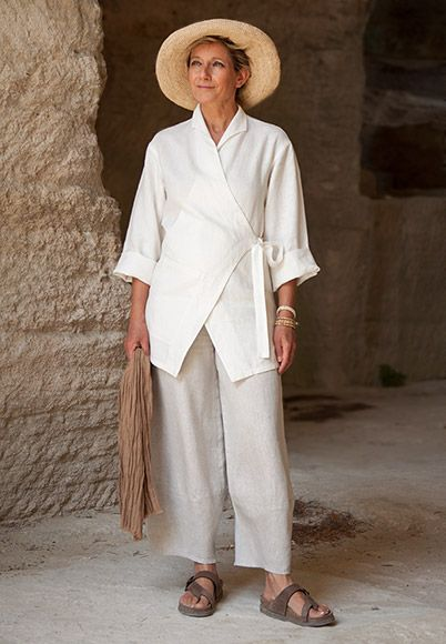 Thick ecru linen breasted jacket 'Kimo' with oatmeal linen trousers.